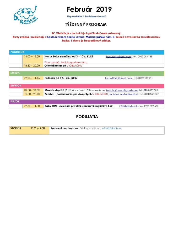 Program na februar 2019